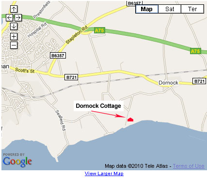 map showing position of Dornock Cottage by the Solway Firth, Annan, Scotland.